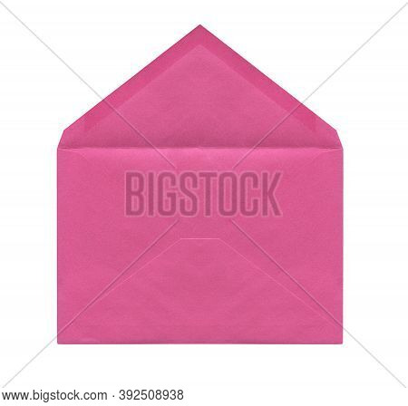 Front View Closeup Of Open Blank Old Aged Pink Letter Paper Envelope Isolated On White Background
