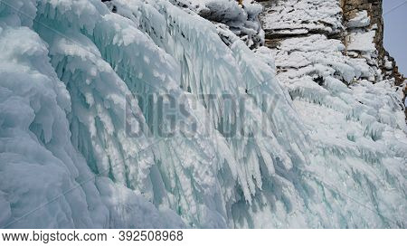 Frozen Water Splashes Olkhon Island On Lake Baikal