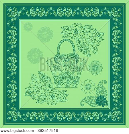 Beautiful Square Pattern With Bag And Flowers In Frame With Paisley Ornament. Print For Napkin, Pill
