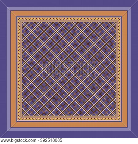 Square Pattern With Grid Ornament. Elegant Print For Bandana, Kerchief, Neck Scarf.