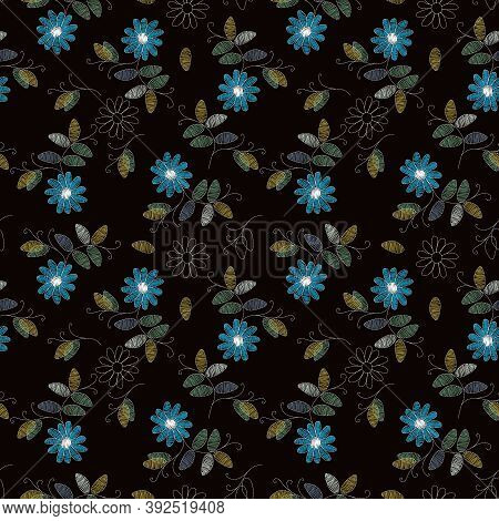 Embroidery Design. Beautiful Seamless Pattern With Blue Flowers On Black Background. Fancywork Print