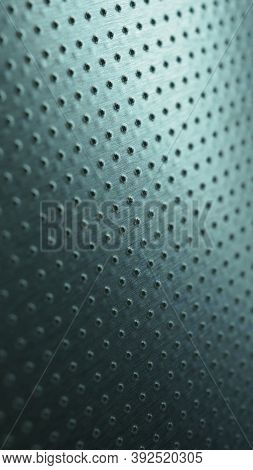 Dark Metallic Mobile Wallpaper. Perforated Aluminum Surface With Many Holes. Tinted Blue-green Indus