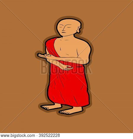 Buddha Stand Up Cartoon Icon Design Template In Modern Style. Vector Illustration Isolated Vector On