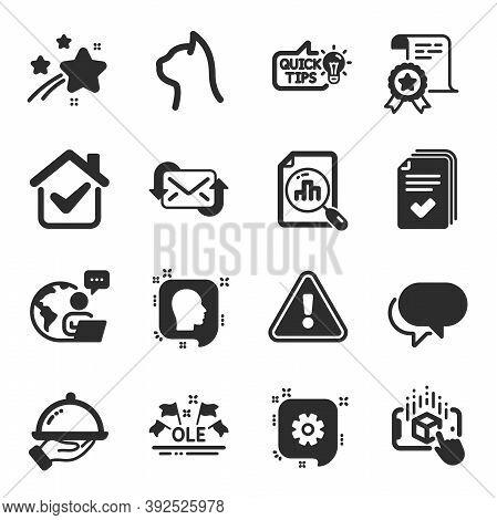 Set Of Business Icons, Such As Talk Bubble, Education Idea, Head Symbols. Pets Care, Ole Chant, Cert