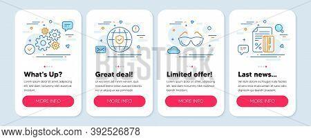 Set Of Business Icons, Such As Eyeglasses, Cogwheel, Global Insurance Symbols. Mobile Screen App Ban