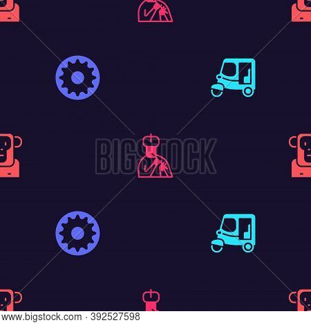 Set Taxi Tuk Tuk, Chakra, Indian Man Plays Flute And Monkey On Seamless Pattern. Vector
