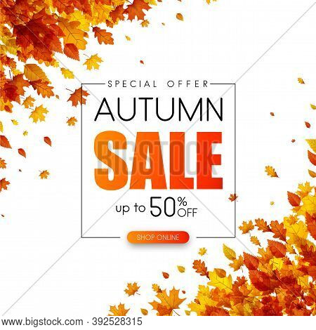 Autumn Up To 50 Off Sale. Promotion Card With Golden Leaves. Shop Online. Vector Background.