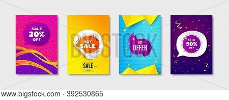 Hot Sale, Hot Offer And Sale Bubble Promo Label Set. Sticker Template Layout. Discount Bubble, Offer