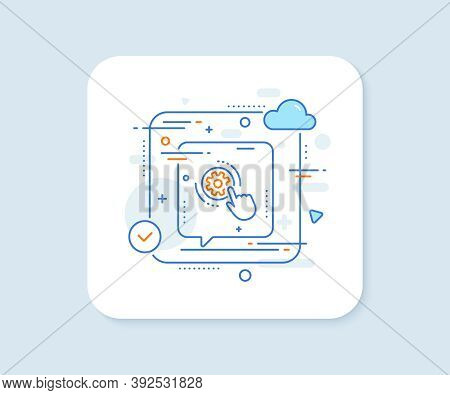 Cogwheel Settings Line Icon. Abstract Vector Button. Engineering Tool Sign. Cog Gear Symbol. Cogwhee