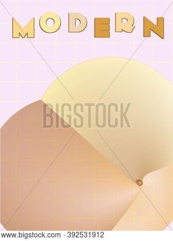 Music Cover In Gold, Yellow, Copper Colors. Radio Concert Flyer. Minimal Line Brochure. Amplitude La