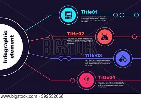 Set House Edificio Mirador, Bull, Castanets And Omelette In Frying Pan. Business Infographic Templat