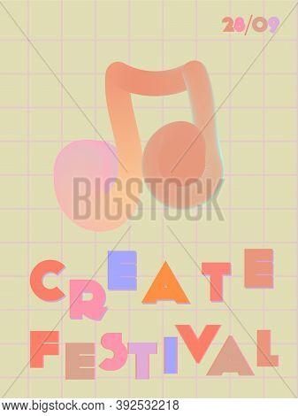 Music Cover In Red, Pink, Yellow, Orange Colors. School Concert Flyer. Minimal Line Brochure. Soundw