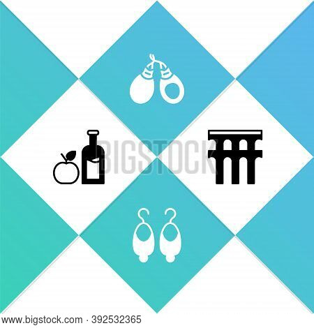 Set Apple Cider Bottle, Earrings, Castanets And Aqueduct Of Segovia Icon. Vector