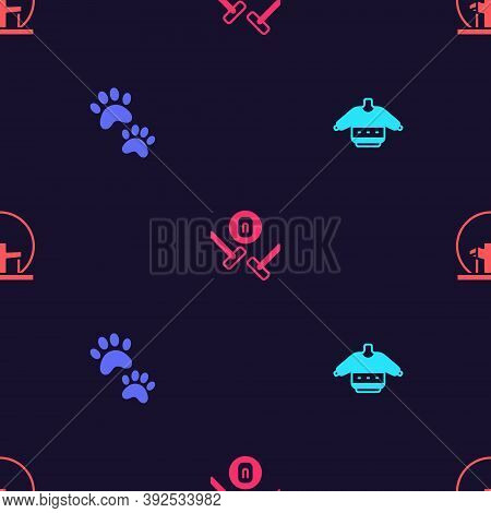 Set Christmas Sweater, Paw Print, Curling Sport Game And Montreal Biosphere On Seamless Pattern. Vec