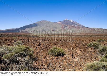 Volcano Mount Teide And Lava Field At Boca Tauce, Teide National Park, Tenerife, Canary Islands