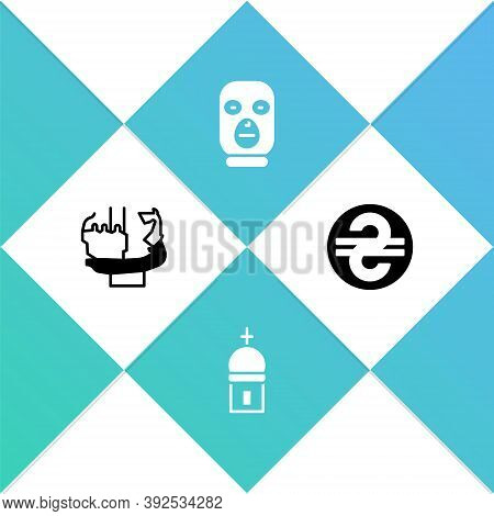 Set Monument To Founders Of Kiev, Church Tower, Thief Mask And Ukrainian Hryvnia Icon. Vector