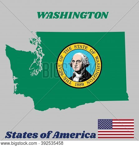 Map Outline And Flag Of Washington, The State Seal, Displaying An Image Of State Namesake George Was