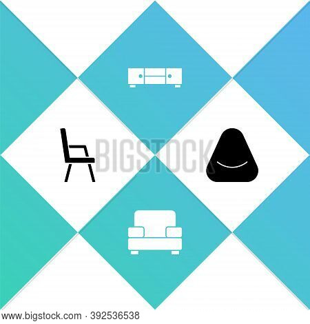 Set Armchair, , Chest Of Drawers And Pouf Icon. Vector