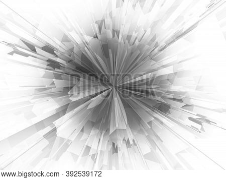 Geometric Digital Explosion. Hyper Zoom Abstract Technology Background. Futuristic Concept. Polygona