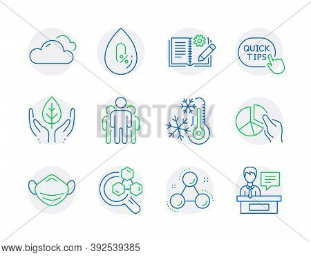 Science Icons Set. Included Icon As Freezing, Pie Chart, Medical Mask Signs. Cloudy Weather, No Alco