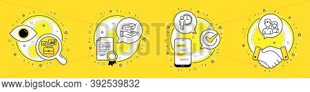 Lightweight, Waiting And Business Portfolio Line Icons Set. Licence, Cell Phone And Deal Vector Icon