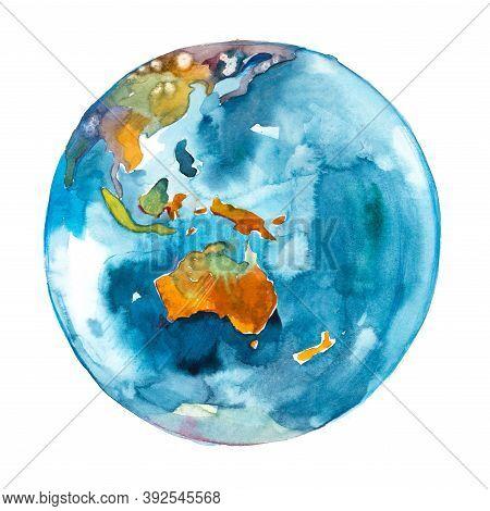 Australia On The Globe. Earth Planet. Watercolor