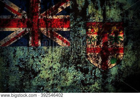 Fiji, Fijian Flag On Grunge Metal Background Texture With Scratches And Cracks