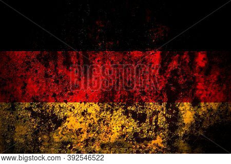 Germany, German, Deutschland Flag On Grunge Metal Background Texture With Scratches And Cracks