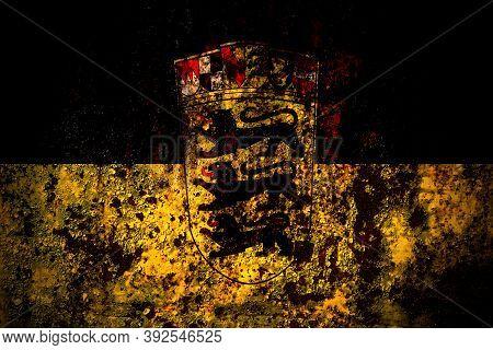 Germany, German, Deutschland, Baden Wurttemberg Flag On Grunge Metal Background Texture With Scratch