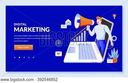 Digital Marketing, Seo Business Technology Concept. Vector Illustration. Website And Social Media Ad