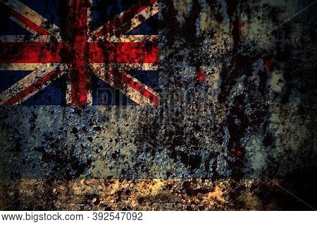 New Zealand, Ross Dependency Flag On Grunge Metal Background Texture With Scratches And Cracks