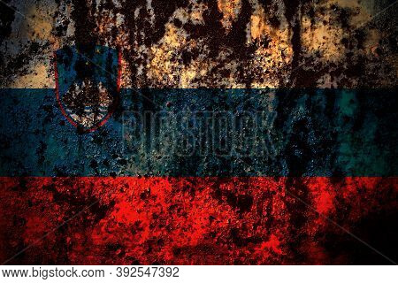 Slovenia, Slovenian Flag On Grunge Metal Background Texture With Scratches And Cracks