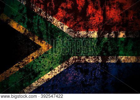 South Africa, African Flag On Grunge Metal Background Texture With Scratches And Cracks