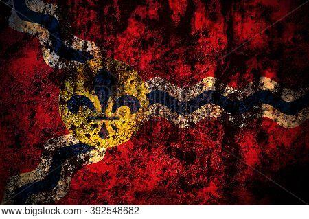 United States Of America, America, Us, Usa, American, Saint Louis, Missouri Flag On Grunge Metal Bac