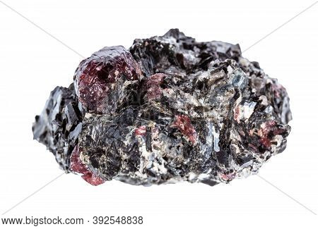 Macro Photography Of Sample Of Natural Mineral From Geological Collection - Raw Red Garnet Crystals