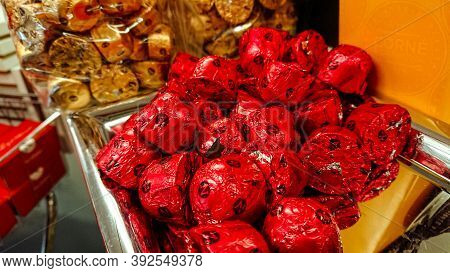 Sint-pieters-leeuw, Belgium  - May 14, 2018: Store Shelves With Boxes Of Belgian Chocolates In The N