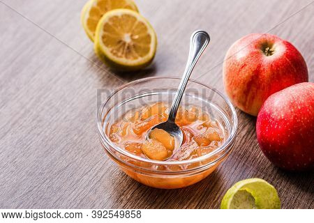 Fresh Yummy Apple Marmalade With Cinnamon And Lemon
