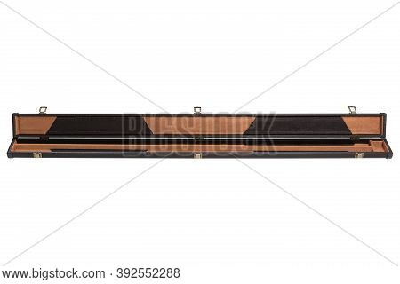 Hard Leather Case For A Collapsible Cue, Case Open, On A White Background