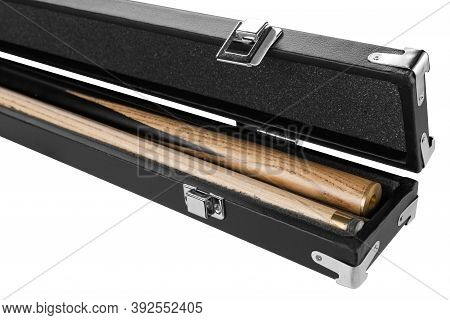 Open Leather Hard Case For The Cue, The Cue Lies Inside, Close-up, On A White Background