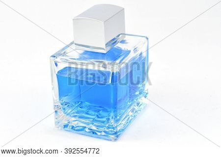 Men's Cologne In A Blue Bottle, Shiny Cover, Fragrance For Men