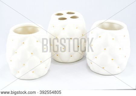 Stand White, On A White Background, Bathroom Accessories, Atmosphere Of Comfort And Peace