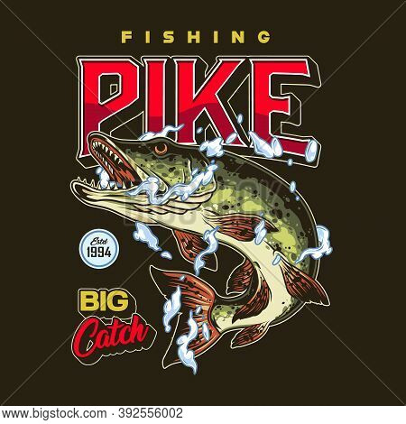 Fishing Colorful Emblem In Vintage Style With Pike In Water Drops And Splashes Isolated Vector Illus
