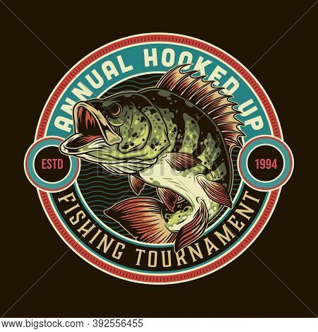 Fishing Vintage Round Print With Bass Fish And Letterings Isolated Vector Illustration