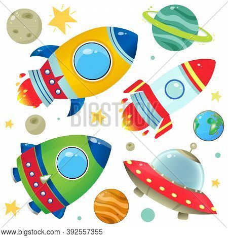 Color Images Of Cartoon Rockets, Flying Saucer And Planets With Stars On White Background. Space. Ve