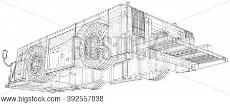 Tow Truck. Wire-frame. Towing Vehicle Vector Illustration Transport In Airport. The Layers Of Visibl