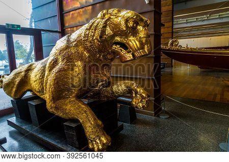 Editorial, Istanbul, Turkey, Golden Lion Figurehead In The Maritime Museum