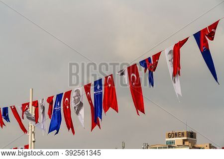 Istanbul, Turkey, Bunting For Republic Day With Flag And Mustafa Kemal Ataturk On October 30 2019 In