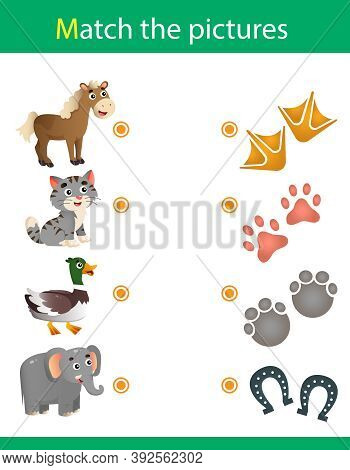 Matching Game, Education Game For Children. Puzzle For Kids. Match The Right Object. Animal Tracks.
