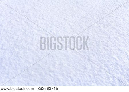 Fresh White Blue Snow In Winter. Snowy Surface, Background, Texture