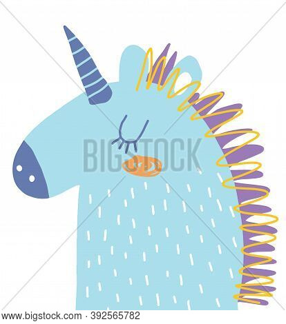 Funny Hand Drawn Vector Illustration With Cute Blue Unicorn Isolated On A White Background. Simple I